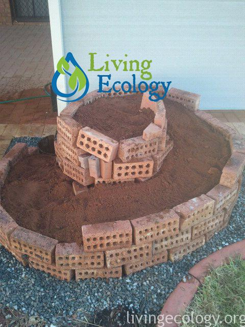 Step 3 of Creating an Herb spiral from Bricks: Soil