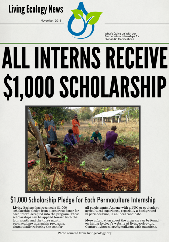 Scholarship Funds Received for All #Permaculture Interns at #livingecology for their Permaculture Global Aid Efforts